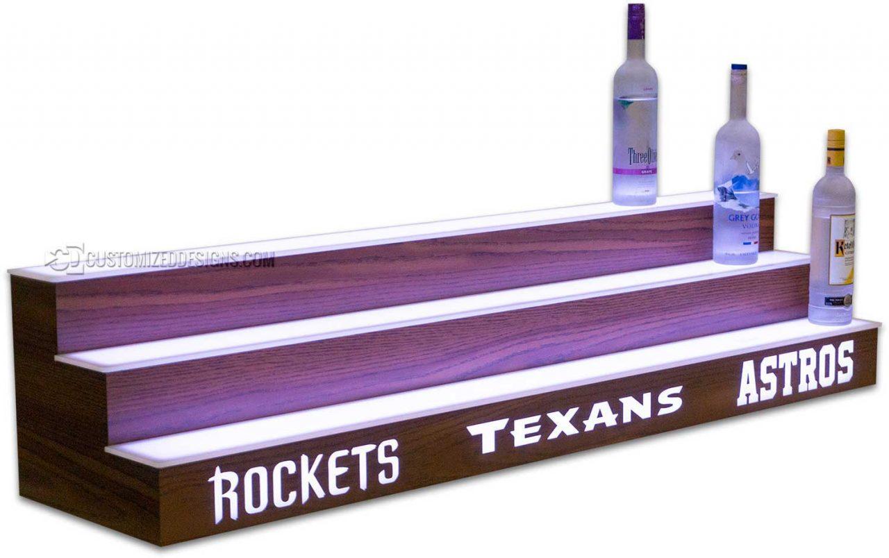 3 Tier Liquor Display w/ Houston Sports Teams & Hearth Oak Finish