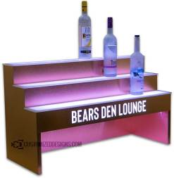 3 Tier Raised Liquor Display w/ Brushed Copper Finish