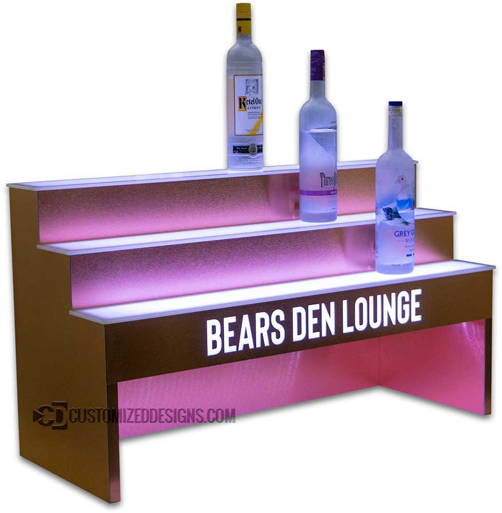 3 Tier Raised Liquor Display w/ Brushed Copper Finish