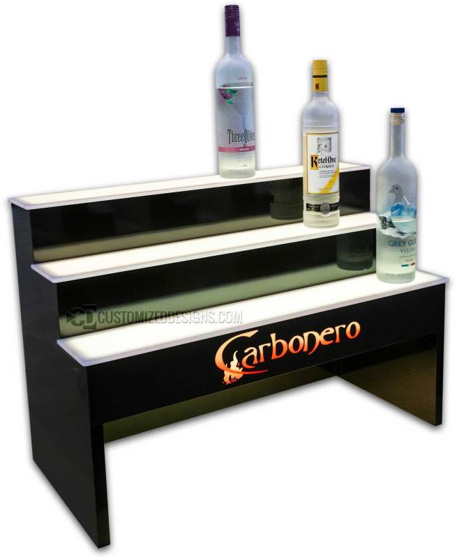 "3 Tier Raised Liquor Display w/ 8"" Storage Opening"