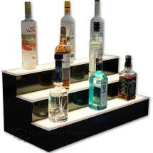 3 Tier Liquor Bottle Display with White LED Lighting