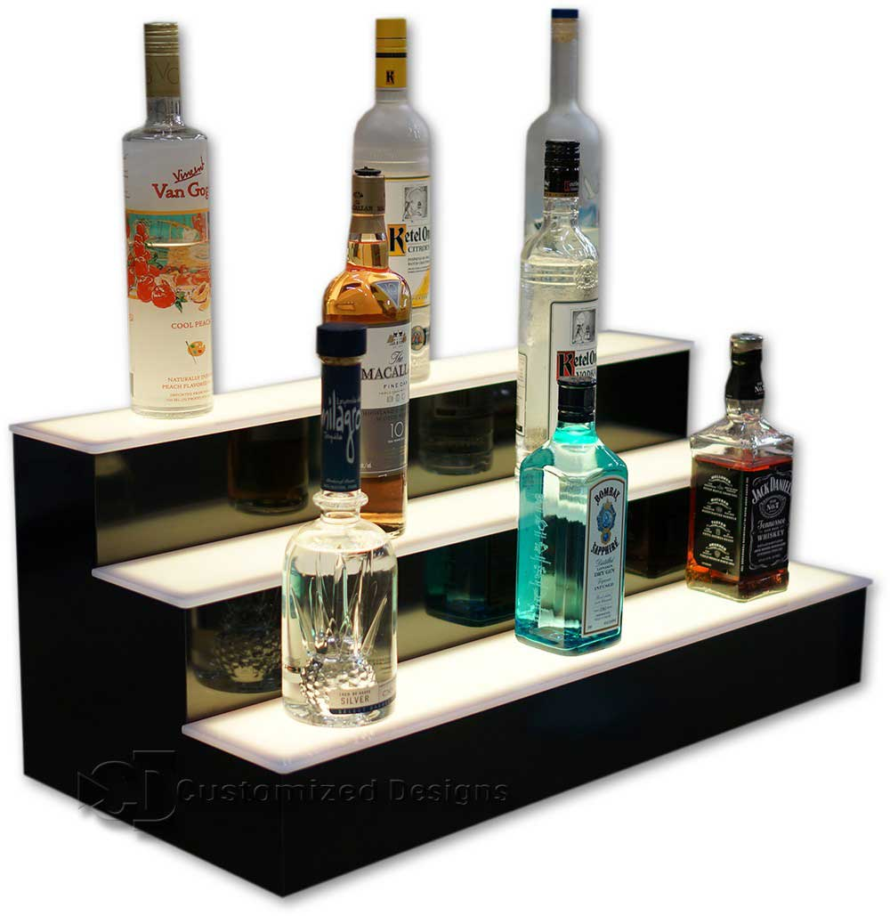 3 Tier Liquor Bottle Display with White LED Lighting