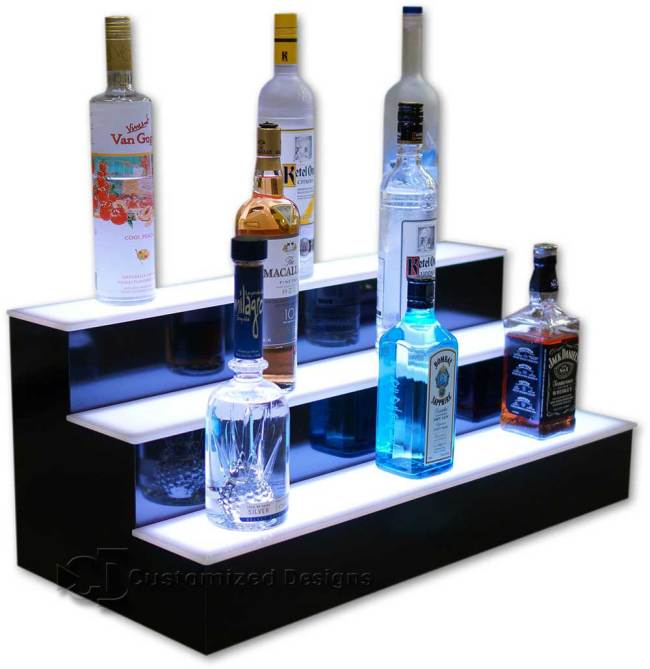 3 Tier Liquor Bottle Display with Bright White LED Lighting