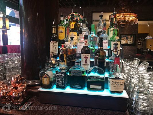 3 Tier Lighted Liquor Display Tiers