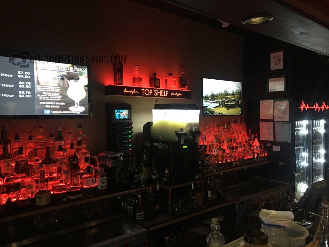 3 Tier Liquor Shelving w/ Red Lighting