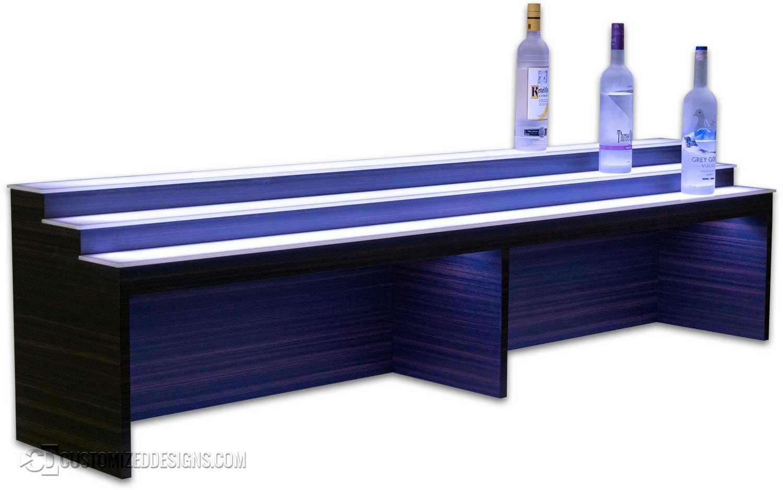 Custom 3 Tier Low Profile Raised Liquor Shelves w/ Thunderstorm Finish