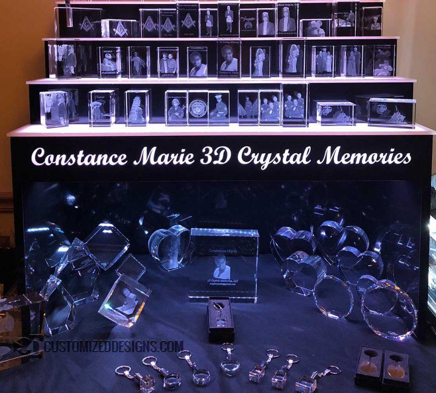 "3 Tier Raised LED Crystal Display w/ 14"" Storage Opening"