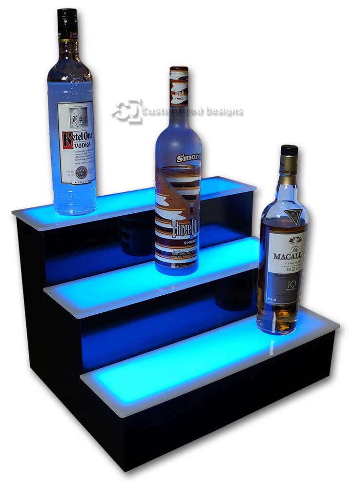 3 Step Home Bar Liquor Display w/ Blue Lighting