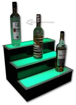 3 Step Home Bar Liquor Display w/ Green Lighting