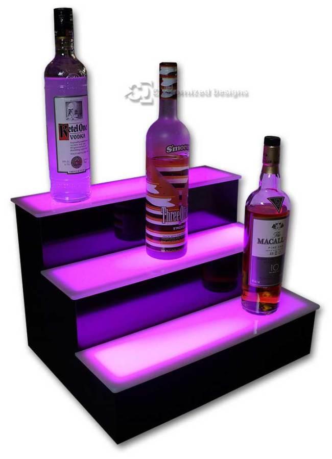 3 Step Home Bar Liquor Display w/ Pink Lighting