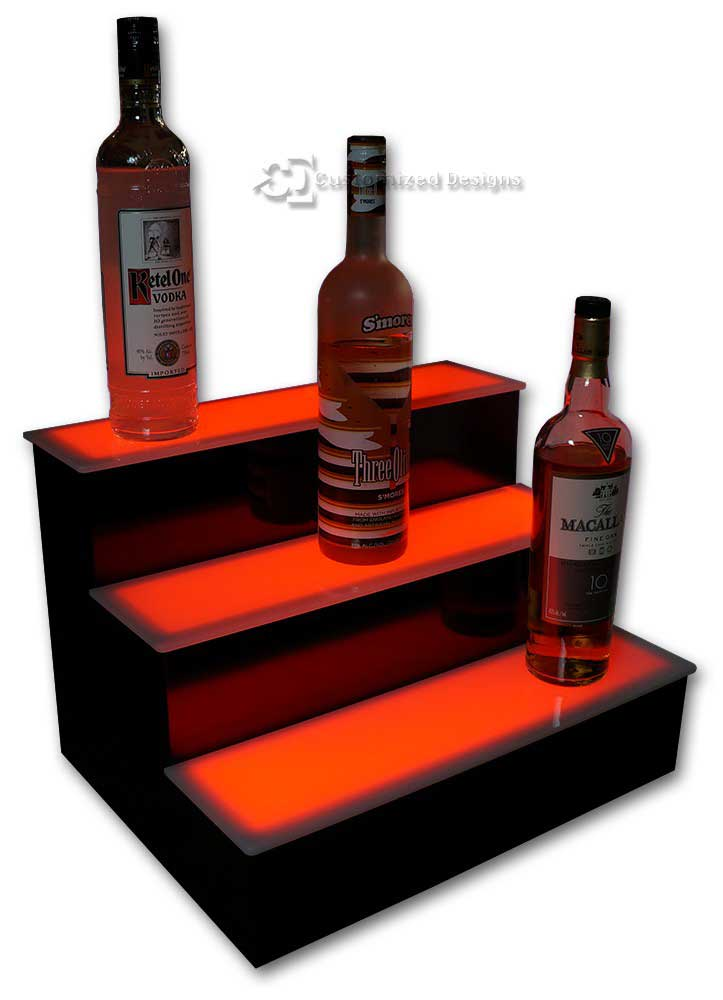 3 Step Home Bar Liquor Display w/ Red Lighting
