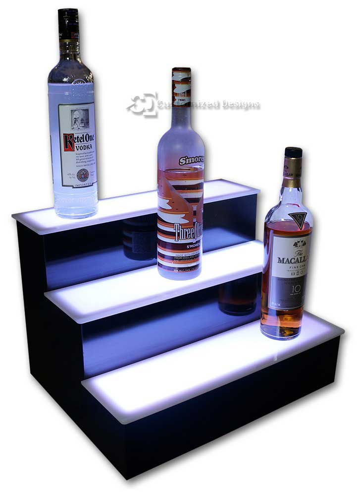 3 Step Home Bar Liquor Display w/ White Lighting