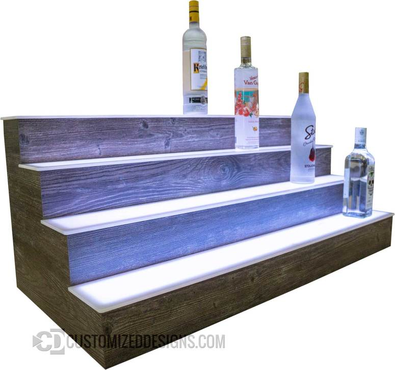 4 Tier Bar Shelving with Smores Barnwood Finish