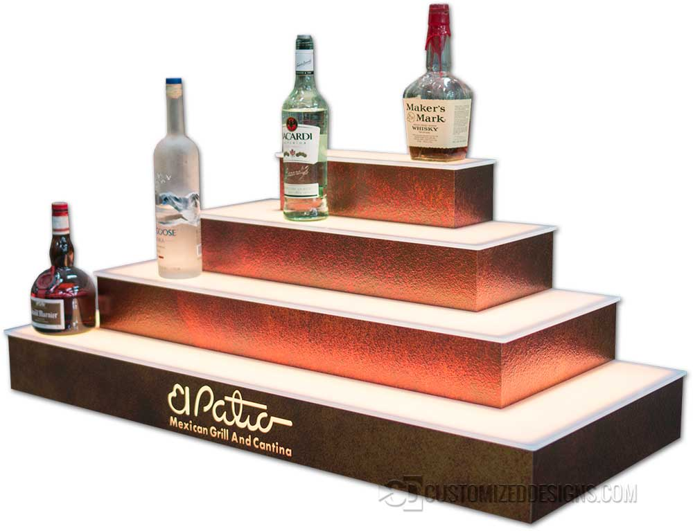 4 Tier Wrap Style Liquor Display w/ Sunburst Copper Finish