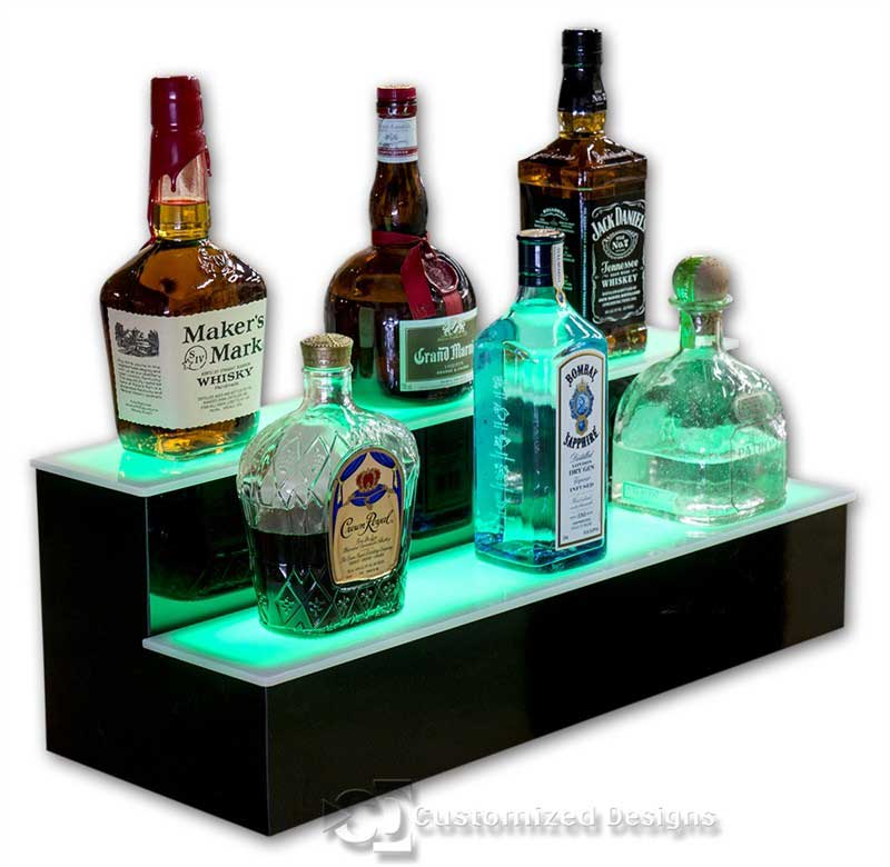 2 Tier Home Bar Liquor Display - Green Lighting
