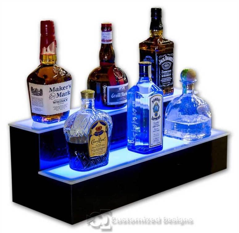 2 Tier Home Bar Liquor Display - Blue Lighting