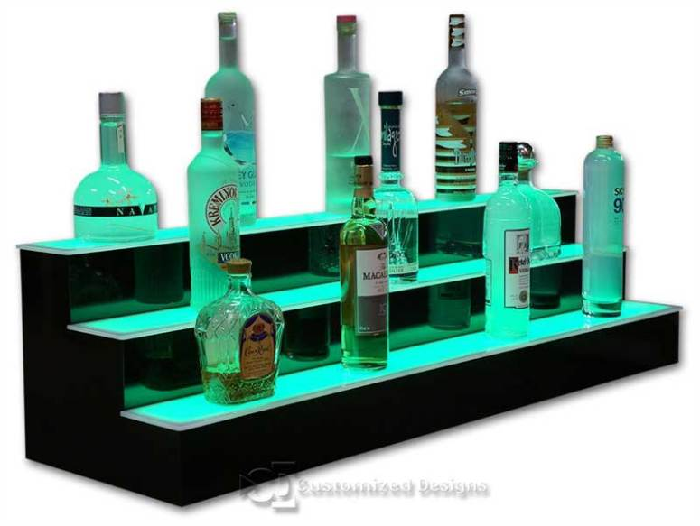3 Tier LED Lighted Bar Shelves