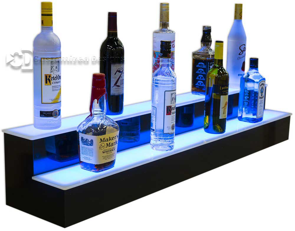 2 Tier Lighted Liquor Shelving w/ Blue Lights