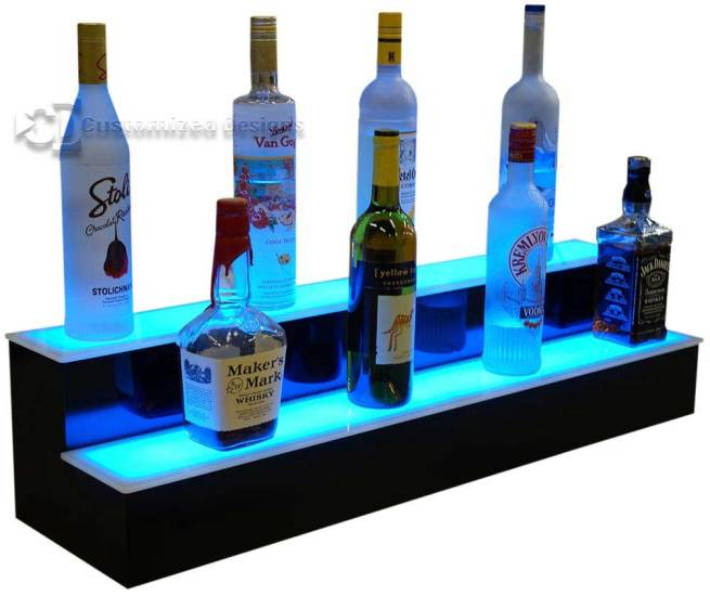 2 Tier LED Lighted Liquor Display w/ Blue Lighting