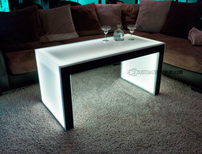 "Carbon Series Ultra Modern LED Coffee Table - Shown with Black Finish - 24"" Height"