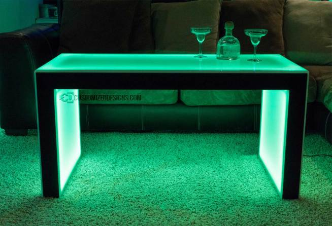 "Carbon Series LED Coffee Table 3 - Black Finish - 24"" Height"