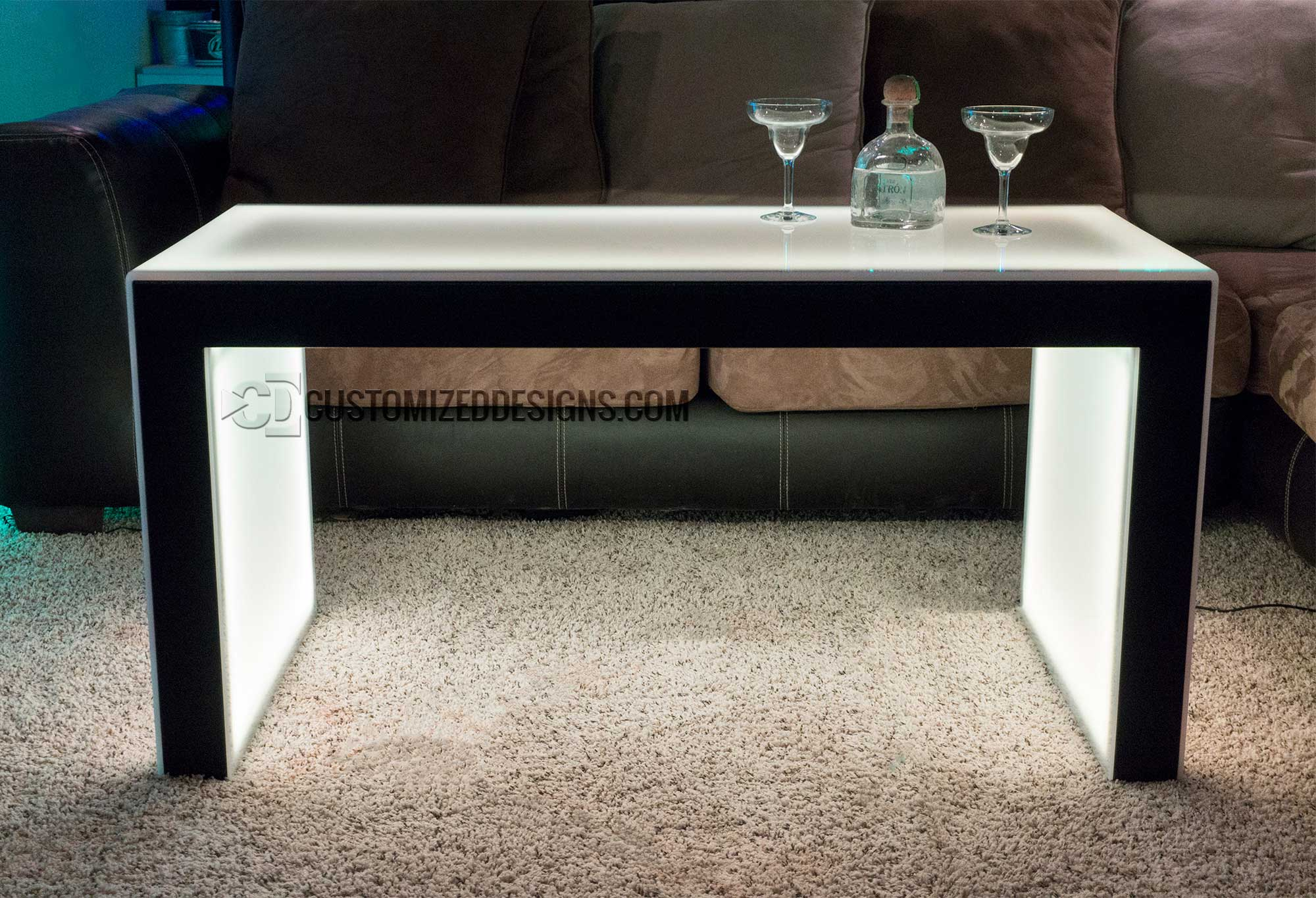 """LED Lighted Nightlub Table - Carbon Series 3 Shown w Black Frame & 24"""" Height"""