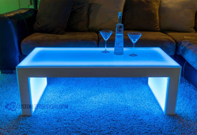 """Carbon Series LED Lighted Coffee Table - Shown with White Finish - 16"""" High"""
