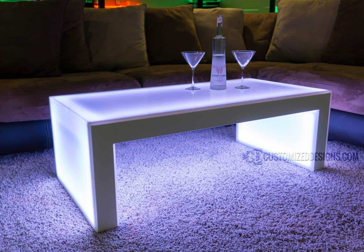 "Carbon LED Lighted VIP Table - White Frame - 16"" Height"