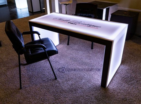 "Carbon Series LED Lighted Table w/ Copper Vein Powder Coating - 30"" High"