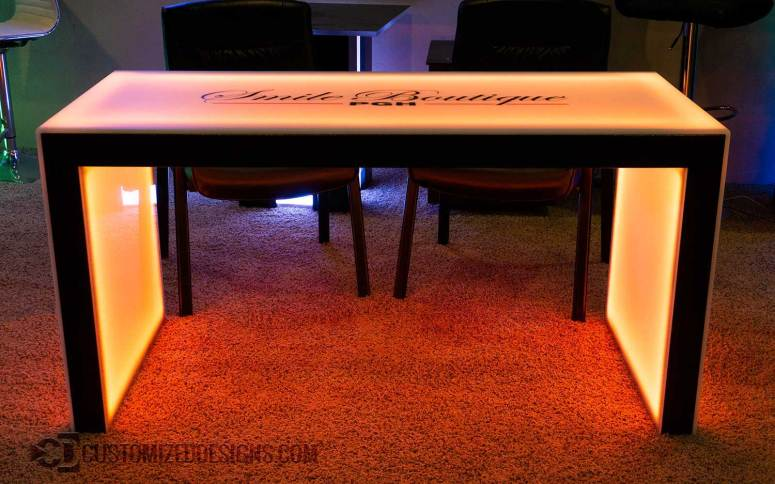 """Carbon Series LED Lighted Table w/ Copper Vein Powder Coating - 30"""" High"""