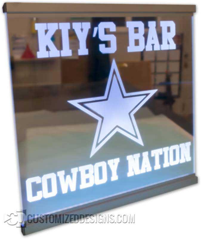 Cowboys Theme Edge Lit Sign