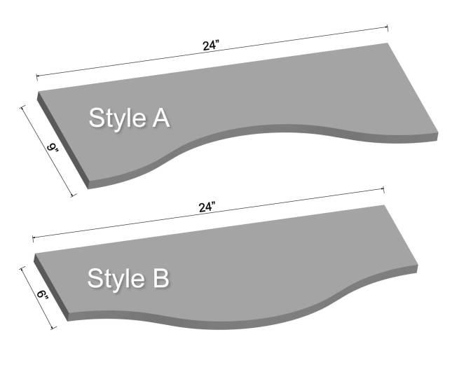 "24"" Curved LED Shelving Diagram"