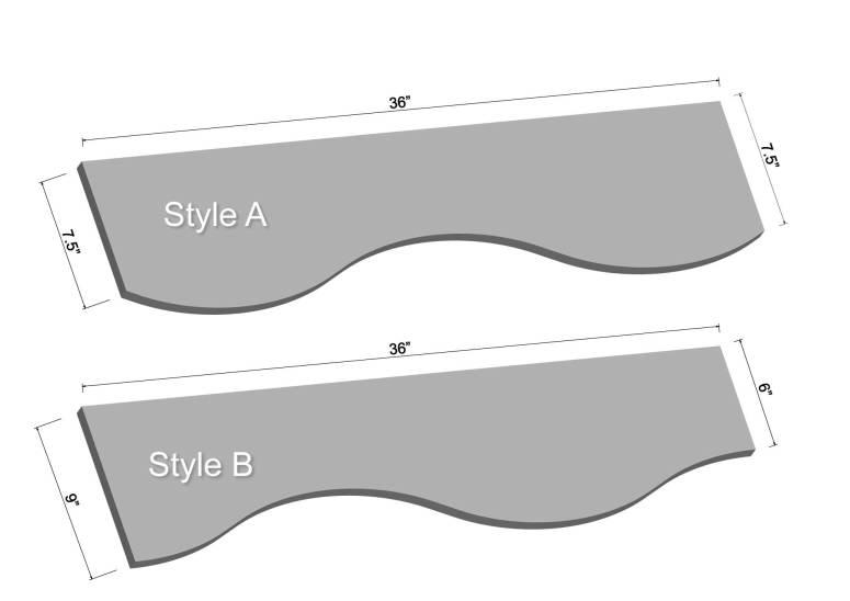 "36"" Curved LED Shelving Diagram"