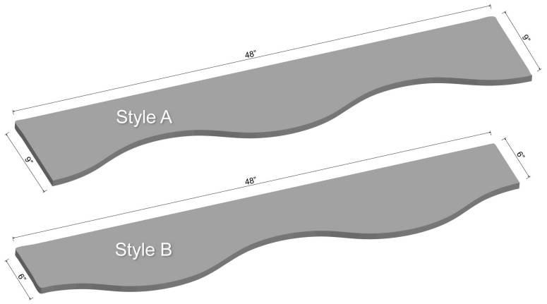 "48"" Curved LED Shelving Diagram"
