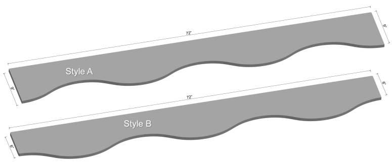 "72"" Curved LED Shelving Diagram"