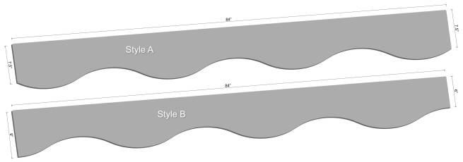 "84"" Curved LED Shelving Diagram"