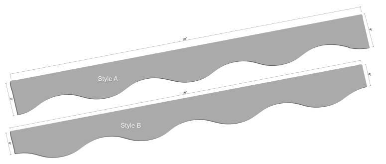 "96"" Curved LED Shelving Diagram"