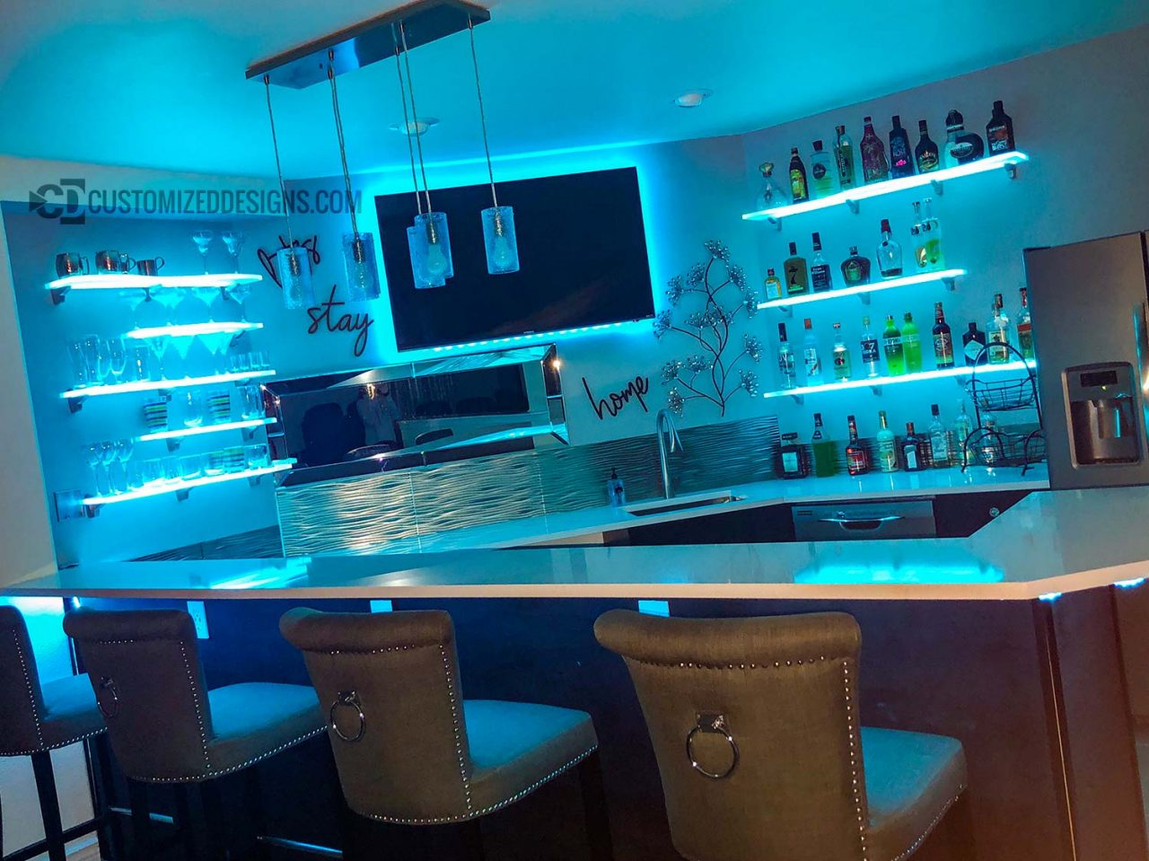 Home Bar with Curved LED Shelves