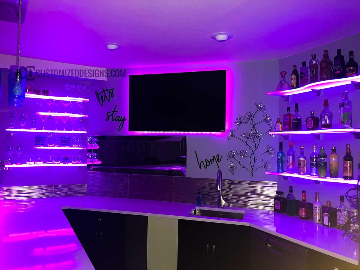 Curved LED Lighted Shelving