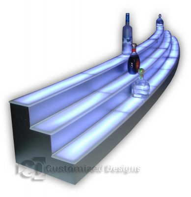 Custom Gradual Curved 3 Tier Liquor Display - Two Sections - Stainless Finish