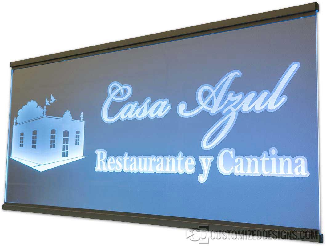 LED Edge Lit Sign Casa Azul