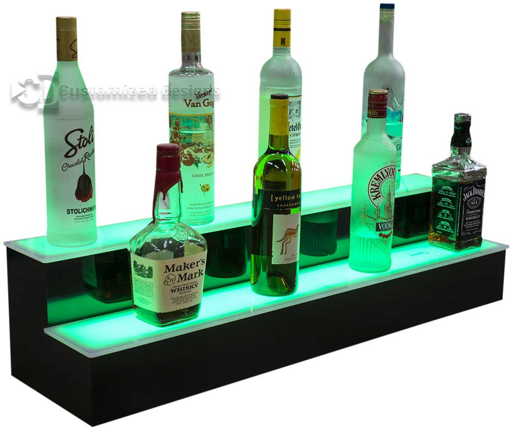 2 Tier Illuminated Liquor Display Shelves - Green Lights