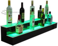 2 Tier Lighted Liquor Shelving w/ Green Lights