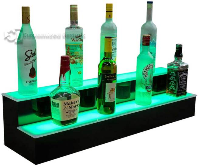 Lit Back Bar Shelves Green Lighting