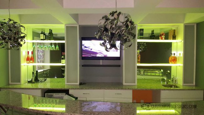 Home Back Bar w/ Lighted Wine Glass Shelving