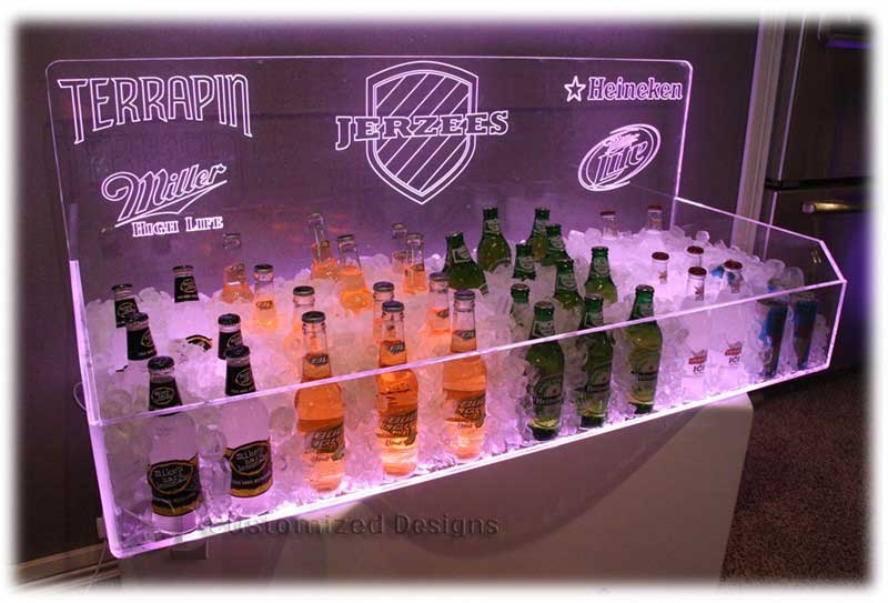 Led Lighted Beer Ice Bins Back Bar Beverage Displays
