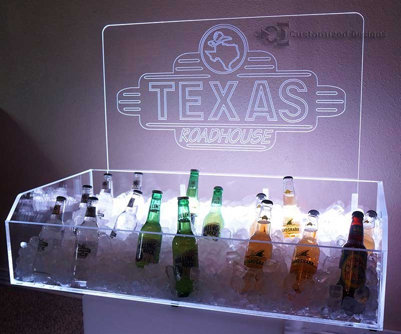 LED Lighted Ice Bin Beverage Displays