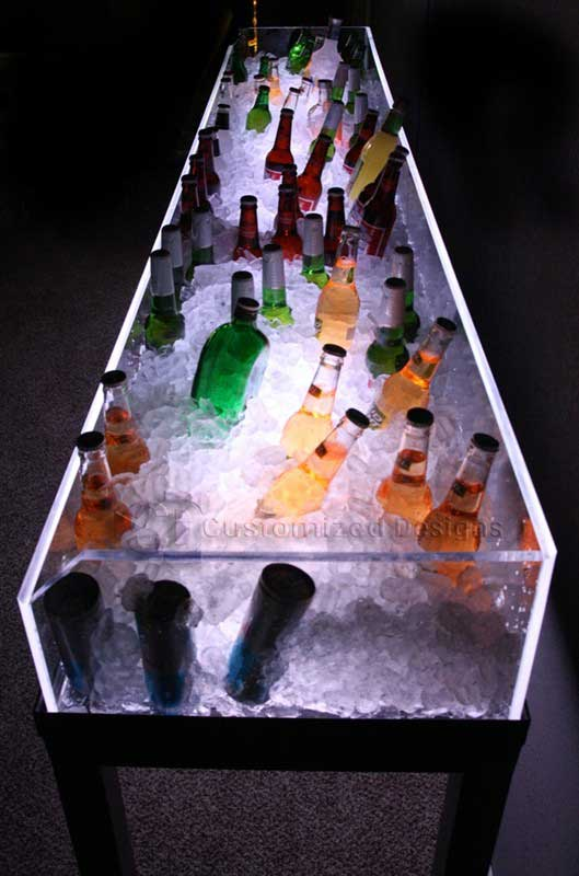 LED Lighted Ice Bin Beverage Display