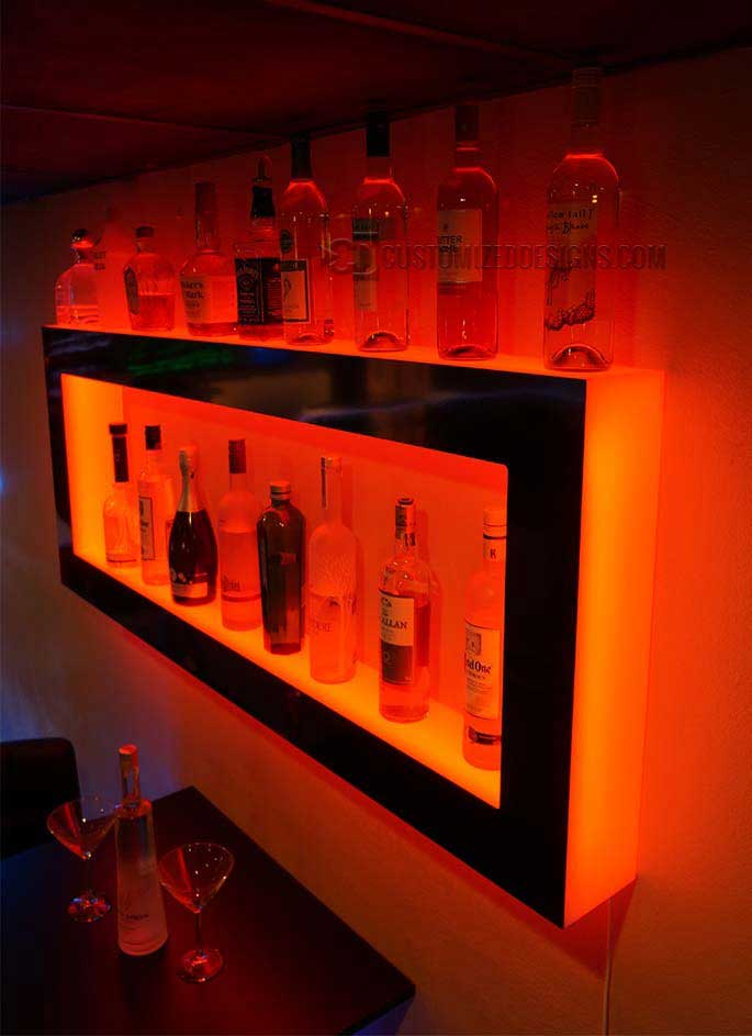 Lighted Back Bar Wall Display Shelves Led Lighting