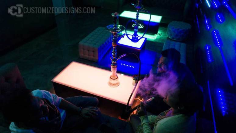 Hookah Lounge Tables with LED Lighting
